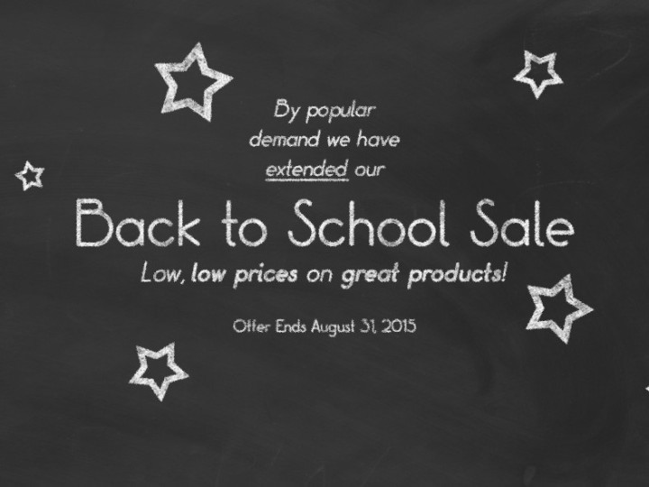 Back to School Sale Extended!